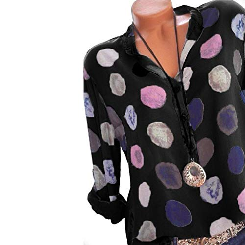 LMMVP Blouse Grande Taille Bouton Bureau Shirt Dot Longue Haut Manche Femmes T Travail Noir De rzqTArx8