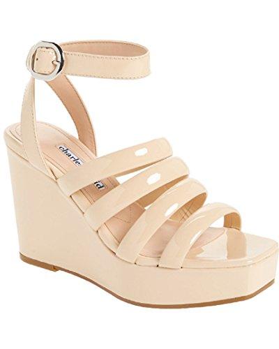 - CHARLES DAVID Judy Patent Wedge Sandal, 9.5 Nude