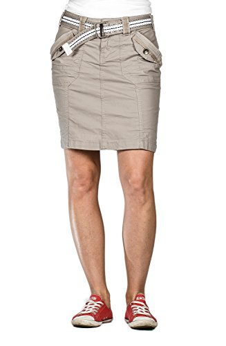 Cotton Cargo Skirt (Suko Jeans Poplin Cargo Skirt For Women 57050 Grey 16)