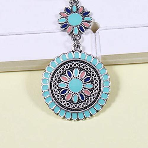 Fashion Sunflower Clip on Dangle Earrings for Girls Bohemian Flower and Round Drop Layered Ethnic Jewelry