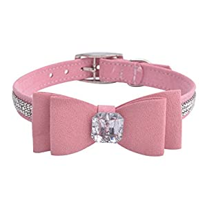 BINGPET BA2041 Diamond Bow Tie Crystal Rhinestone Pet Collar Designer Girl Boy Dog Collars-Pink