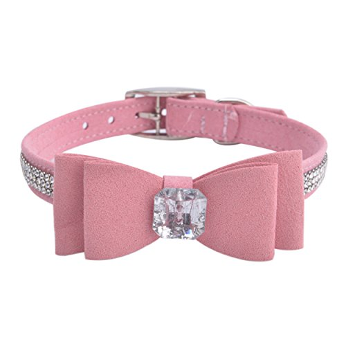 BINGPET BA2041 Diamond Bow Tie Crystal Rhinestone Pet Collar Designer Girl Boy Dog Collars-Pink (Pink Rhinestone Dog Collar)