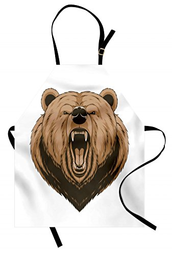 Ambesonne Bear Apron, Angry Scary Face Powerful Vicious Beast Mascot Cartoon Character with Fangs, Unisex Kitchen Bib Apron with Adjustable Neck for Cooking Baking Gardening, Caramel Dark Brown