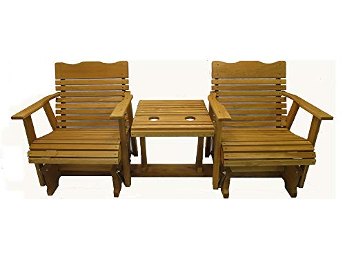 Kilmer Creek 6' Cedar Settee Glider W/Stained Finish, Amish Crafted (Wood Furniture Settee)