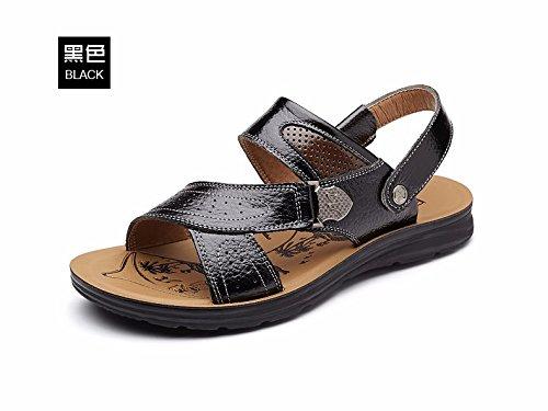 Uomini sandali Uomini estate vera pelle Spiaggia scarpa Tempo libero scarpa tendenza Il nuovo pelle Spessore inferiore Antiscivolo sandali Uomini scarpa ,nero,US=8,UK=7.5,EU=41 1/3,CN=42