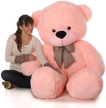 GURUDEV large Very Soft 4 Feet Lovable/Huggable/Fluffy/Spongy Teddy Bear with Neck Bow for Kids/Girlfriend/Birthday Gift/Boy/Girl (122 CM,Pink)