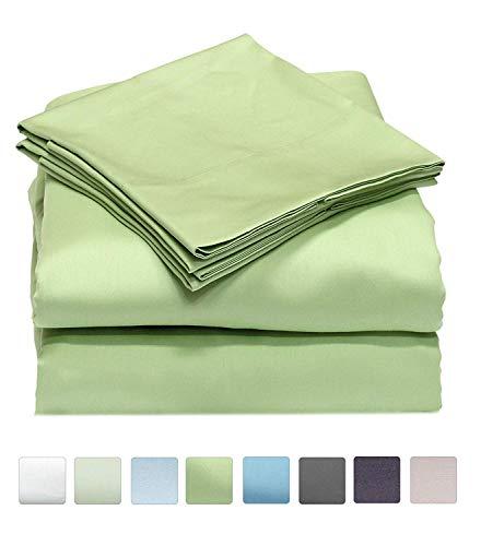 SRP Linen Bedding Hotel Collection 800 Thread Count 100% Egyptian Cotton 4PC Sheet Set 15'' Deep Pocket (Queen, Sage)