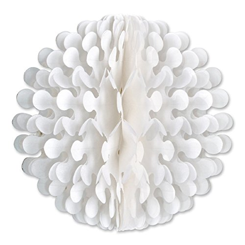Club Pack of 12 White Tissue Flutter Ball Hanging Decorations 14