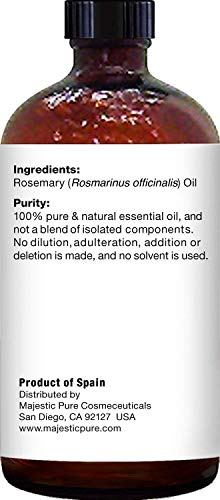 Majestic Pure Rosemary Essential Oil - Pure and Natural Aromatherapy Oil - Therapeutic Grade, 4 fl. oz.