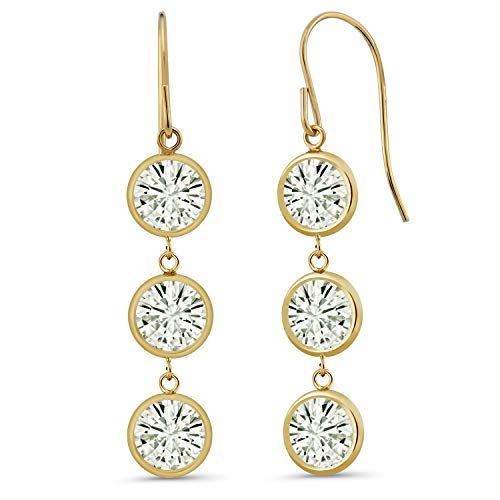 (14K Yellow Gold Dangle Earrings Forever Classic Round 3.00ct (DEW) Created Moissanite by Charles &)