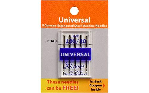Klass Machine Needle Universal Size 120/20 5 pc Card (5 Pack)