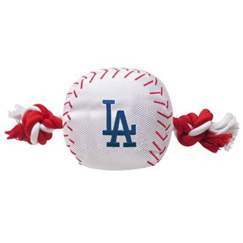 MLB LOS ANGELES DODGERS Baseball Rope Toy for DOGS & CATS. Tough nylon, Sporty Baseball Design, Heavy-duty ropes with Inner SQUEAKER