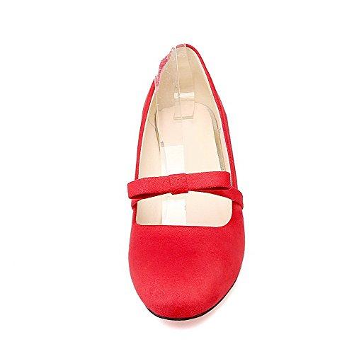 VogueZone009 Femme Tire Carré à Talon Correct Dépolissement Couleur Unie Chaussures Légeres Rouge RPkrWO