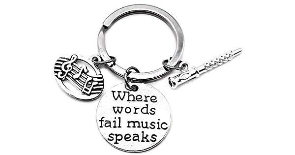 Amazon.com: Llavero de flauta, llavero de música, llavero de ...