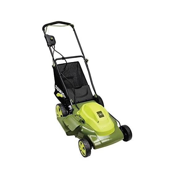 Sun Joe MJ408E 20-Inch 12-Amp Electric Lawn Mower + Mulcher, w/Side Discharge Chute 2 Maintenance free - No gas, oil or tune-ups Detachable grass catcher for easy disposal; Grass collection bag capacity: 14. 5 gal Best use: small to mid-sized lawns