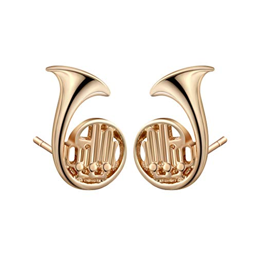 Girl Instruments Horn (Tiny Trumpet Saxophone French Horn Shaped Stud Earrings Musical Instrument Themed Jewelry for Music Lover (Trumpet Gold))