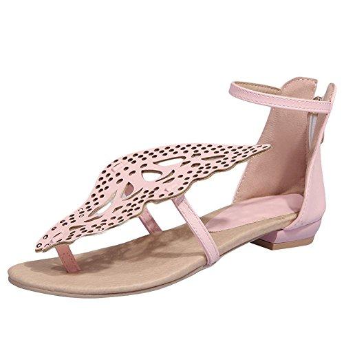 Carolbar Kvinners Sommerfuglformede Glidelås Ankel-strap Flatene Flip-flop Sandaler Rosa