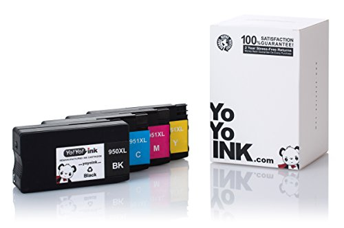 YoYoInk 4 Pack Remanufactured Ink Cartridge Replacement for HP 950XL & 951XL (1 Black, 1 Cyan, 1 Magenta, 1 Yellow) for OfficeJet 8600 8610 8620 8630
