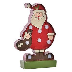 Papá Noel/Santa Claus, Decoración Luminosa LED en Metal, Ideal para Estas Navidades. Original/Navideño 10X4X16,5 cm.-Hogarymas-