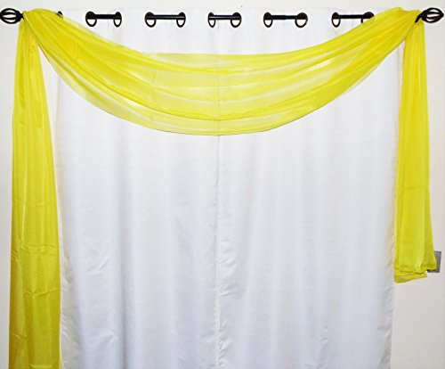 GorgeousHome *Different Colors* 1 Elegant Scarf Valance Swag Voile Sheer Curtain Window Topper Dressing 216″ inch long (Yellow)
