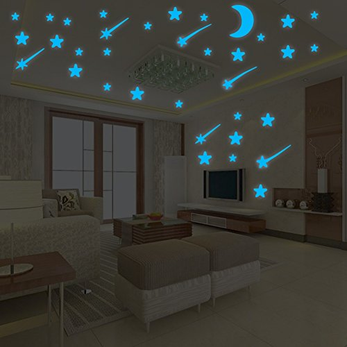 - Ochine Blue Luminous Wall Decal Sticker, Glow in The Dark, Self Adhesive Dots & Star & Moon Removable Sticker Home Decor Art for Nursery Kids Bedroom Living Room