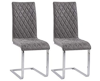 Pleasant Set Of 2 Dining Chairs Distressed Faux Leather Quilted Padded Seat Sturdy Chrome Steel Legs High Back Vintage Design Dining Table Side Chair Home Evergreenethics Interior Chair Design Evergreenethicsorg