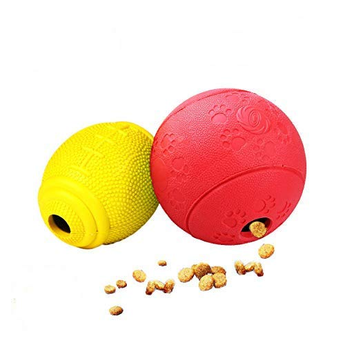 AD Treat Ball - Interactive Dog Toys - Non-Toxic & Durable Rubber Treat Food Dispenser IQ Ball for Pet Puppies and Cat Chasing Chewing Playing - Red Round & Yellow -