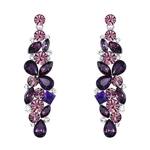 (EVER FAITH Austrian Crystal Tear Drop Flower Cluster Dangle Earrings Purple Silver-Tone)