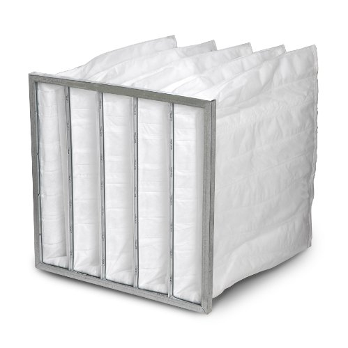 """Filtration Group 303384 Pocket Air Filter, Moisture Resistant, Ultrasonically Welded Synthetic Media, White, 9 MERV, 3 Pockets, 24"""" Height x 12"""" Width x 36"""" Depth (Case of 4)"""