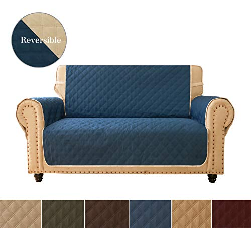 Sofa Cover, Reversible Quilted Furniture Protector, Ideal Loveseat Slipcovers for Pets & Children, Water Resistant, Will Keep your Couch Stain, Dirt & Scratches-Free | Ultrasonic Oblique Grid Navy ()