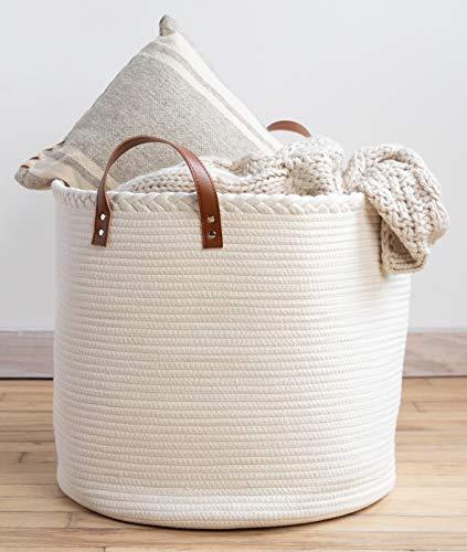 "XXL Premium Cotton Rope Basket 18""x18""x16"" - Big Basket for Blankets Living Room - Woven Laundry Basket- White Basket - Large Blanket Basket Living Room - Storage Basket - Large Baskets for Blankets"