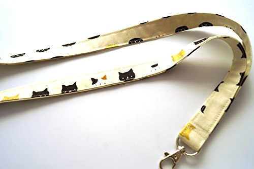 Black and Gold Tone Cat Fabric Lanyard or ID Badge Holder