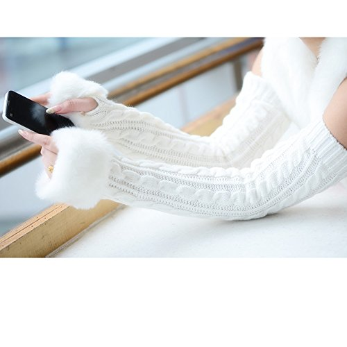 Women Girls Soft Wool Knit Faux Fur Winter Fingerless Gloves Cold Weather Mitten Arm Hand Warmer, Long/Medium/Short Sleeve by Fakeface
