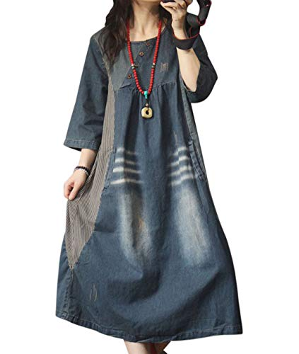 YESNO Women Fashion Long Maxi Denim Dress Striped Stitched Buttons Obliquely A Skirt/Pockets YZM