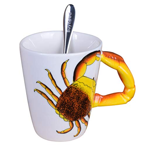 (Novelty Funny Hand Painted Coffee Mug - Crab 3D Handle Handmade Large 15 oz Porcelain Tea Cup Unique Ideal Gifts)