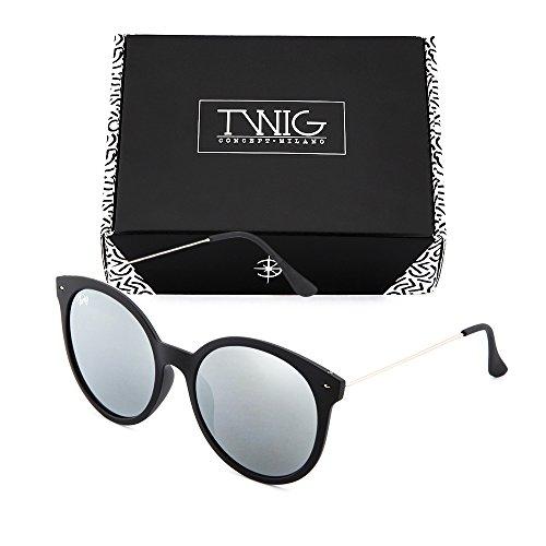 sol Negro espejo redondo REMBRANDT de mujer Gafas TWIG Plata UwnWFvqC6x