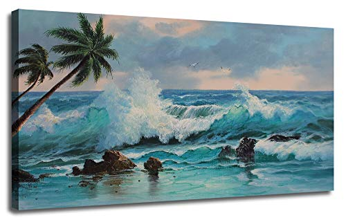 Canvas Wall Art Prints Blue Ocean Sea Wave Painting Palm Tree Hawaii Seascape Panoramic Picture, Modern Large Artwork Framed Ready to Hang Picture for Living Room Bedroom Bathroom Home Office Decor