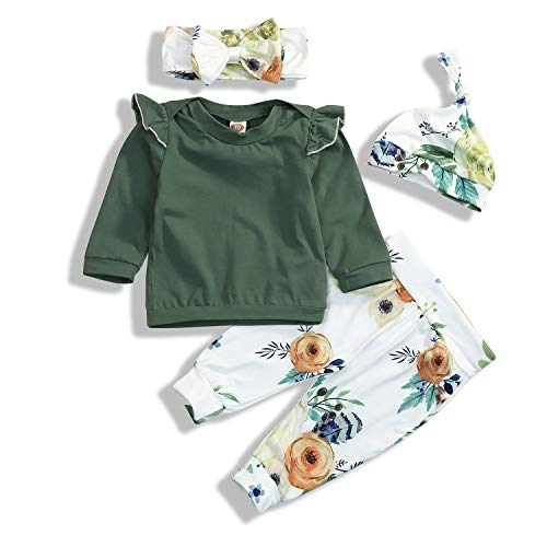 Toddler Baby Girls Cute Outfit Long Sleeve Ruffle Shirts+Floral Pants+Headband+Hat Clothes Set 4Pcs Green -