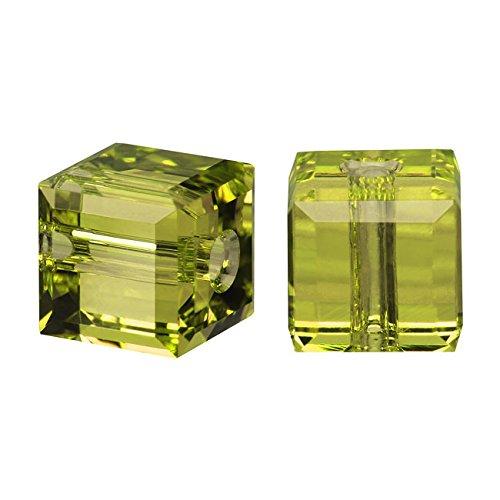 - Swarovski Crystal, 5601 Cube Beads 4mm, 10 Pieces, Olivine