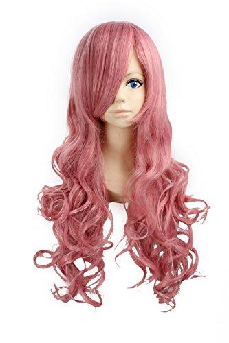 Lacus Clyne Costume (RUKA Costume Wigs Lacus Clyne Hair Wigs Long Dark Pink Curly Wavy Wig)
