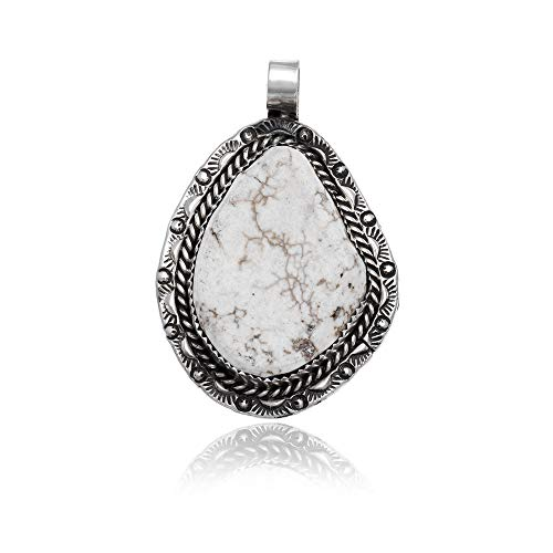 Sun .925 Sterling Silver Certified Authentic Handmade Navajo Native American Natural White Buffalo Turquoise Pendant