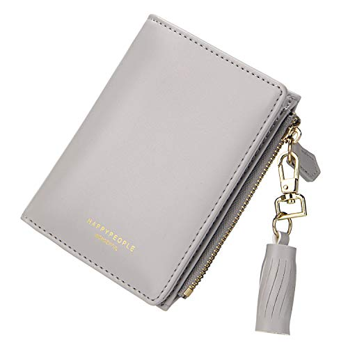 (TJEtrade Wallets for Women Leather Zipper Bifold Card Holder Coin Purse Small)