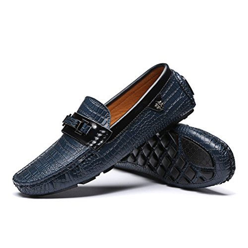 en Chaussures des Absorption Cuir Chaussures Hommes Casual Bleu de Respirant Conduite Chocs XIGUAFR UECqgwxHMw