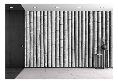wall26 - Bamboo Wall Black and White - Removable Wall Mural | Self-Adhesive Large Wallpaper - 100x144 inches -