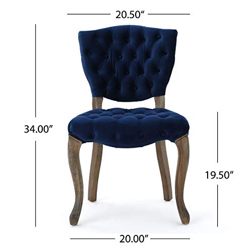 Christopher Knight Home 299874 Bates Tufted New Velvet Dining Chairs (Set of 2) Navy Blue by Christopher Knight Home (Image #7)