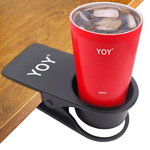 YOY Drink Cup Holder Clip - Table Desk Side Water Glass Beer Bottle Beverage Soda Coffee Mug Holder Cup Saucer Clip Design Home Office, Black