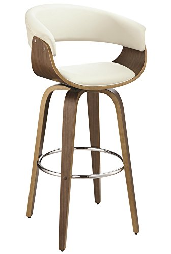 Upholstered Swivel Bar Stool Walnut and Ecru