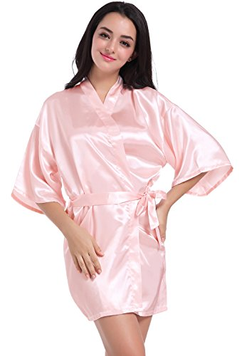 Wholesale Robes (Admireme Women's Kimono Robes Satin Nightdress Pure Colour Short style with Oblique V-Neck)