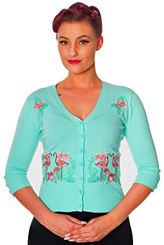 Banned-FACE-TO-FACE-FLAMINGOS-Embroidered-Cardigan-BLUE