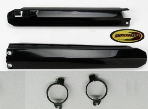 Fork Guards Black Plastic and Keepitroostin Sticker Fits Yamaha Yz125 Yz250 Yz400 Yz426 Yz450 1996-2004